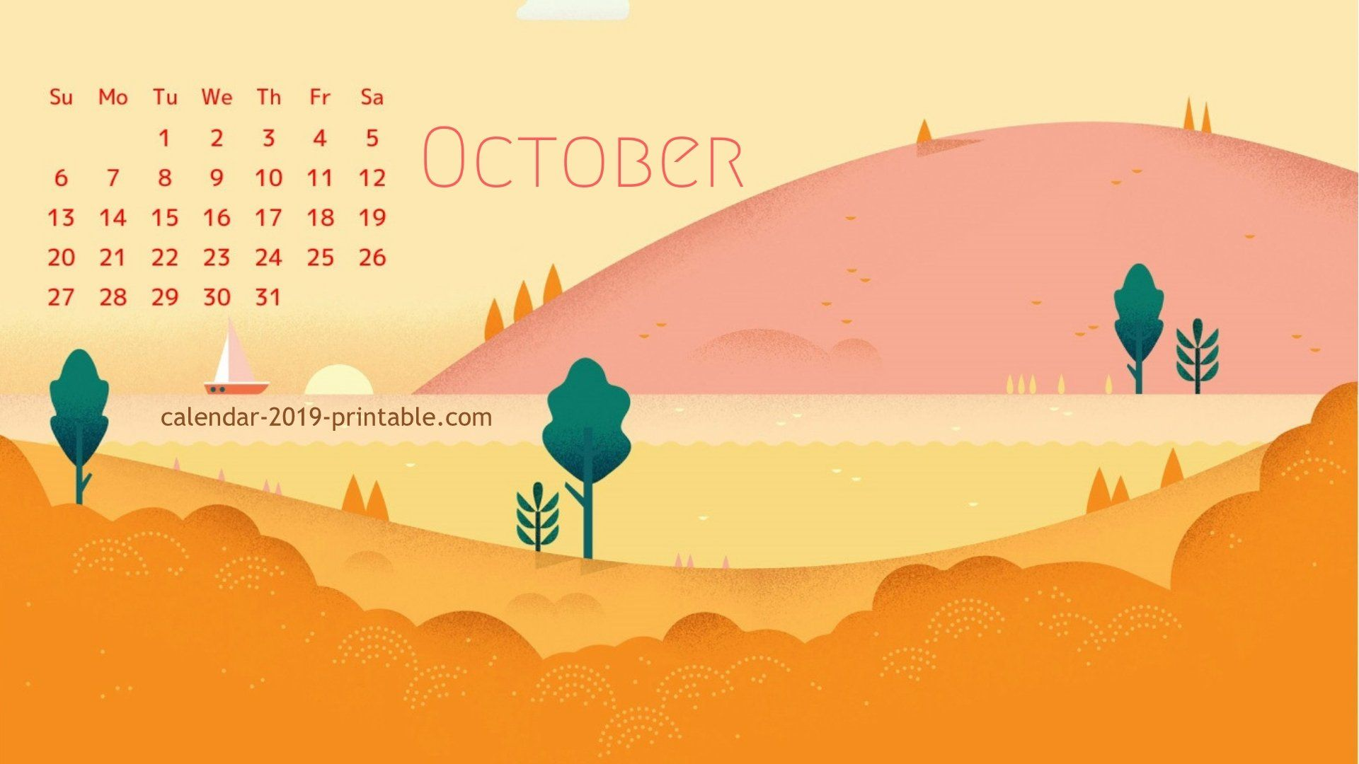 october 2019 calendar wallpaper Calendar wallpaper, 2019