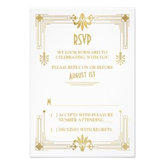 Art Deco Roaring 20s Gold White Wedding RSVP Card
