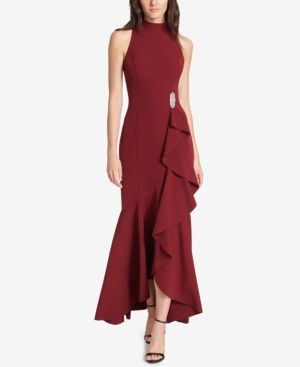d61c167ae310 Vince Camuto Embellished Ruffled Gown - Red 14