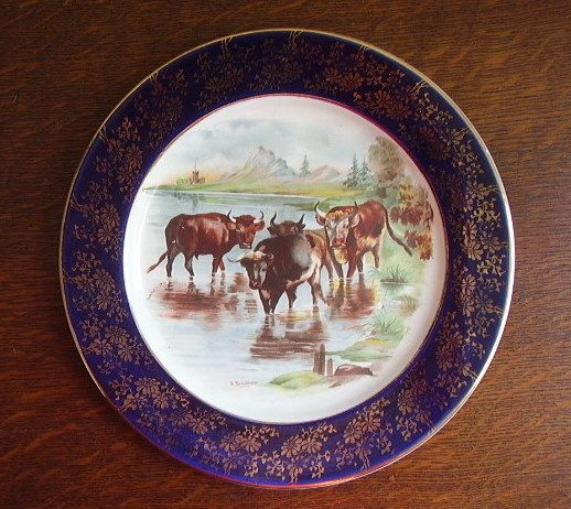 Hand Painted Cow Plate c.1896-1912 Empire Pottery Cattle Plate & Hand Painted Cow Plate c.1896-1912 Empire Pottery Cattle Plate | Cow ...