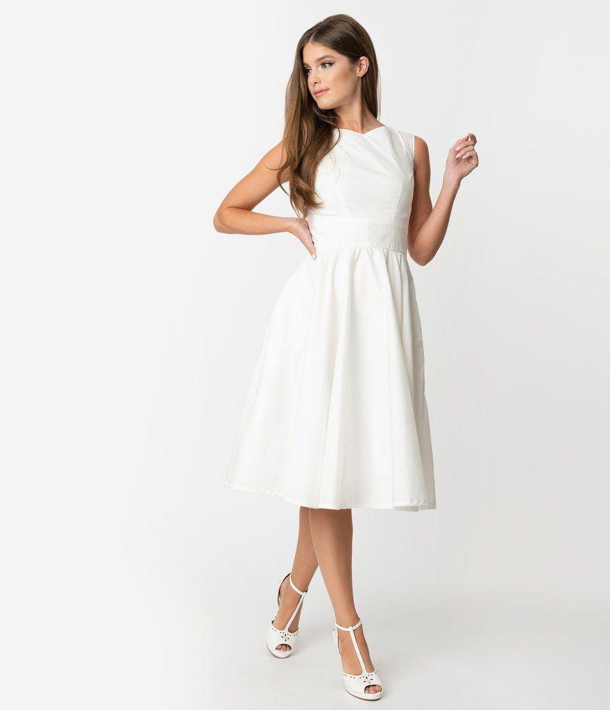 Vintage Style Ivory Sleeveless Jenny Swing Dress Unique Vintage White Dresses For Women Swing Dress Unique Dresses [ 1023 x 879 Pixel ]