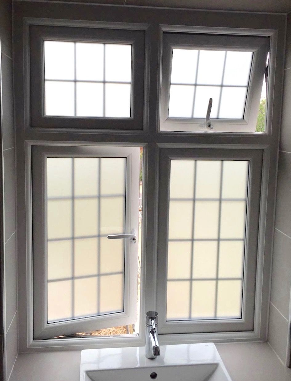 Frosted or opaque glass PVC-U double glazed bathroom windows