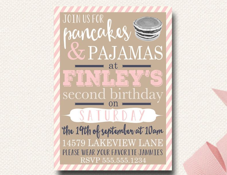 Pancake and Pajamas Invitation First Birthday Printable Vintage Typography Navy Pink Stripe by DesignOnPaper on Etsy https://www.etsy.com/listing/104863409/pancake-and-pajamas-invitation-first