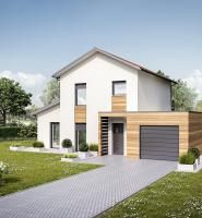 maison tage avec garage en toiture plate et porche d 39 entr e m tre carr home plans. Black Bedroom Furniture Sets. Home Design Ideas