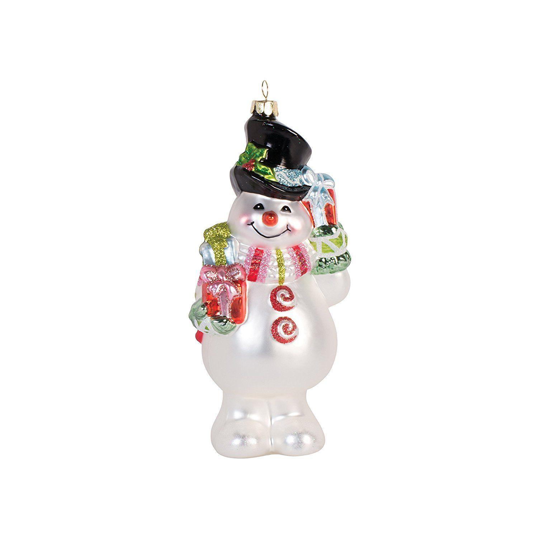 Fitz And Floyd 49 654 Flurry Folk Glass Ornament, Snowman