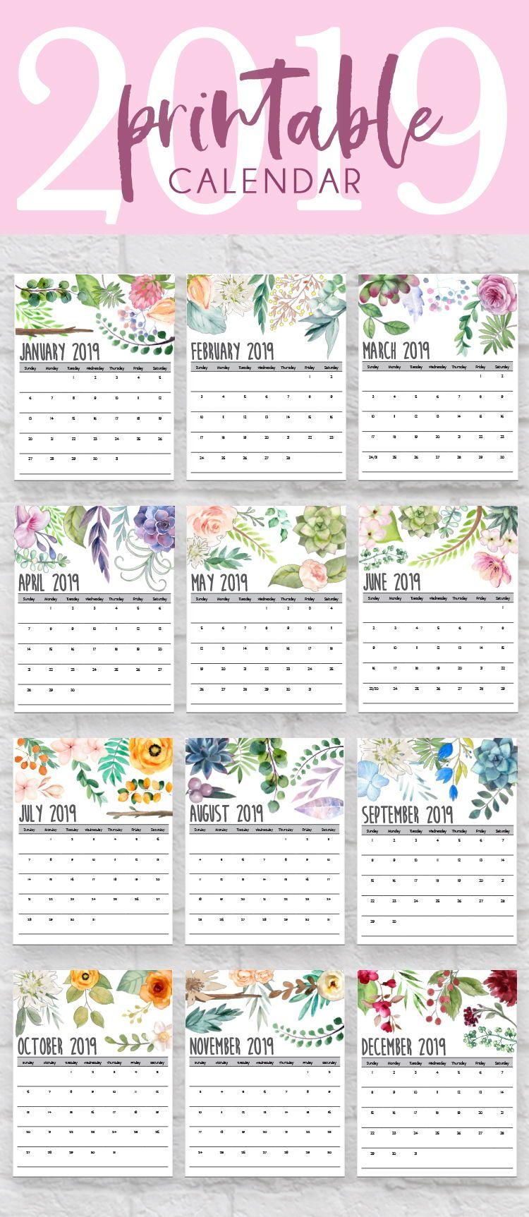 2018 2019 Calendar 2018 2019 Monthly Calendar Hand Lettered