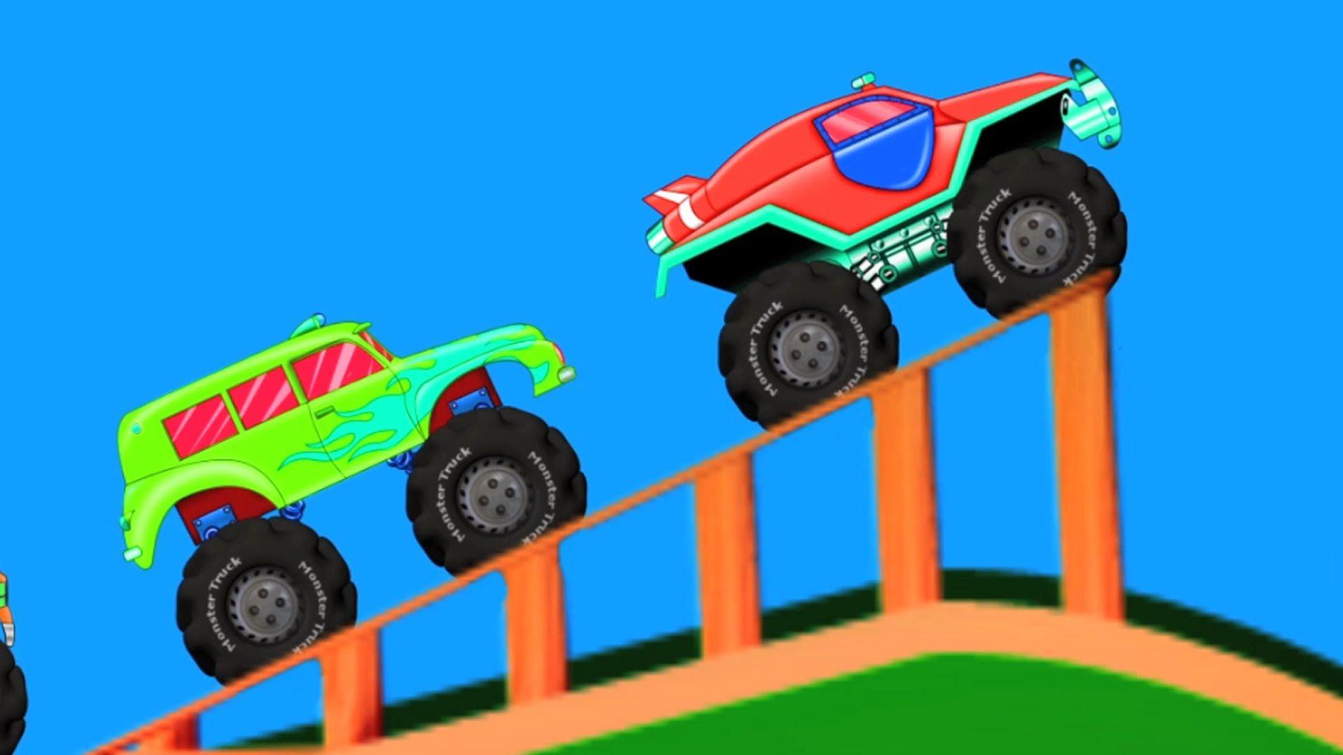 monster trucks kids car race racing video for toddlers