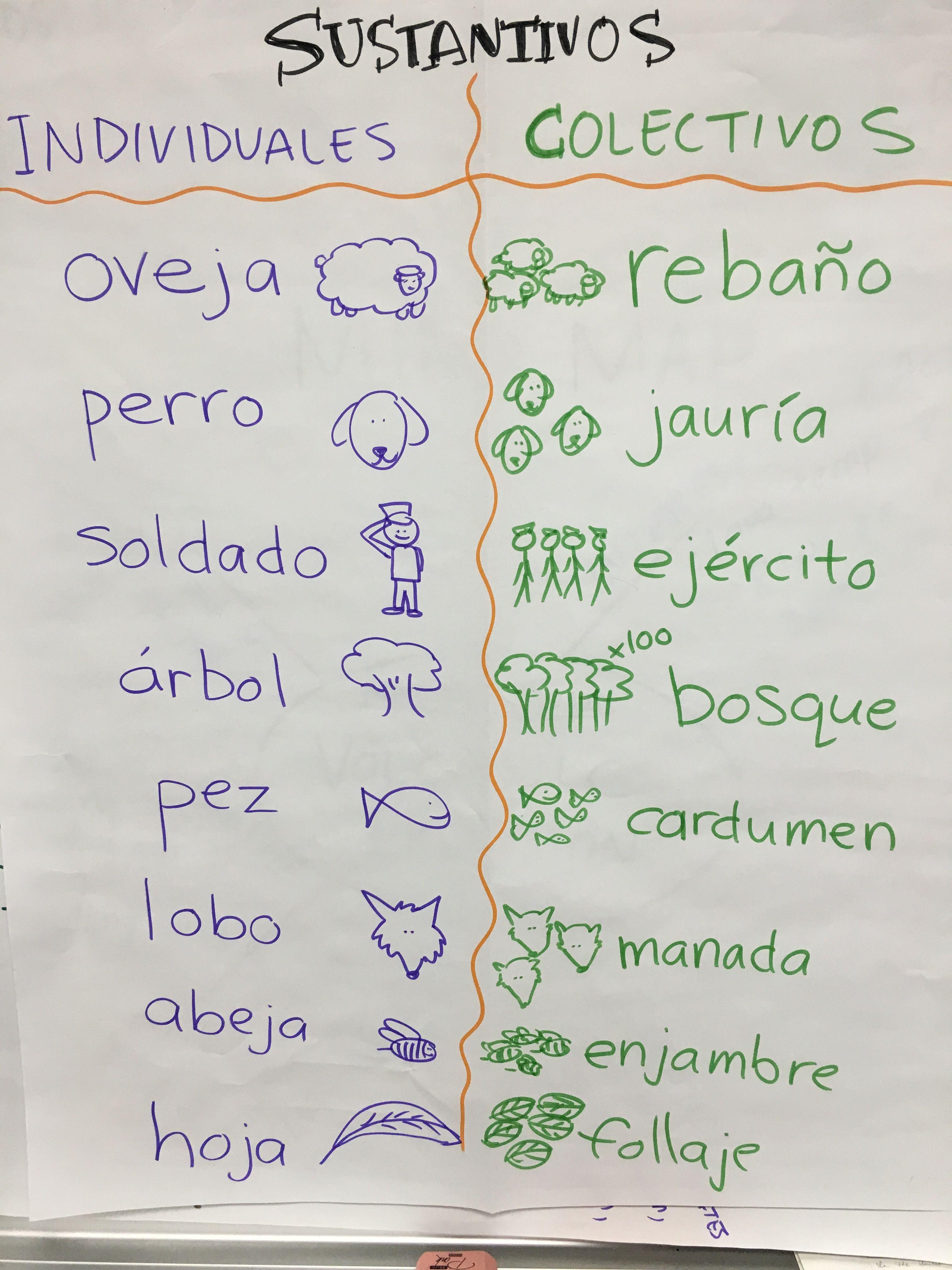 Sustantivos: individuales y colectivos | Spanish Dual Immersion ...