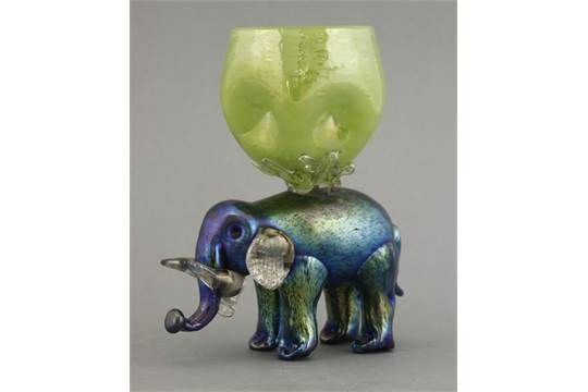 A rare Loetz iridescent elephant vase,the elephant with clear glass jaw, ears…