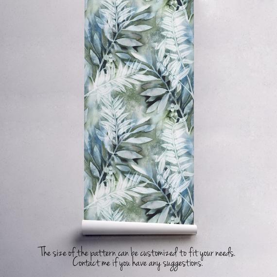 Acquerello dipinto murale lascia | Carta da parati adesiva auto rimovibile | Buccia e bastone adesivo muro temporaneo | TROPICALE #5