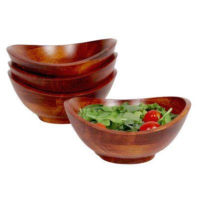 Mint Pantry Faison Individual 4 Piece Salad Bowl Set Wood Salad Bowls Salad Bowls Set Salad Bowls