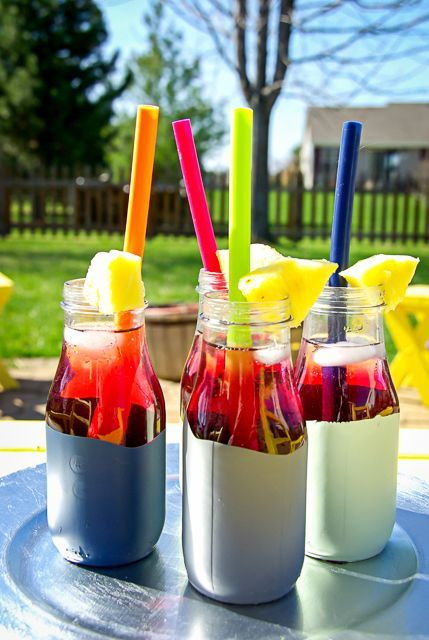DIY Paint Dipped Vases, summer drink, outdoor entertaining, fruity drink. To see more click on post or visit http://ourhousenowahome.com/