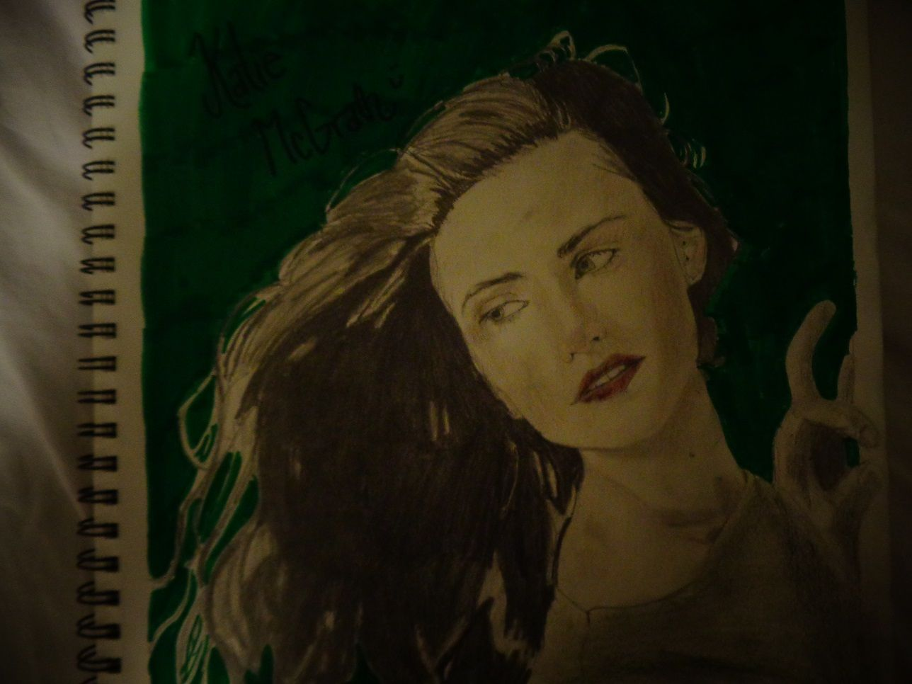 This is a drawing of Katie McGrath that I, @HannahJackfield did! I think it turned out somewhat good