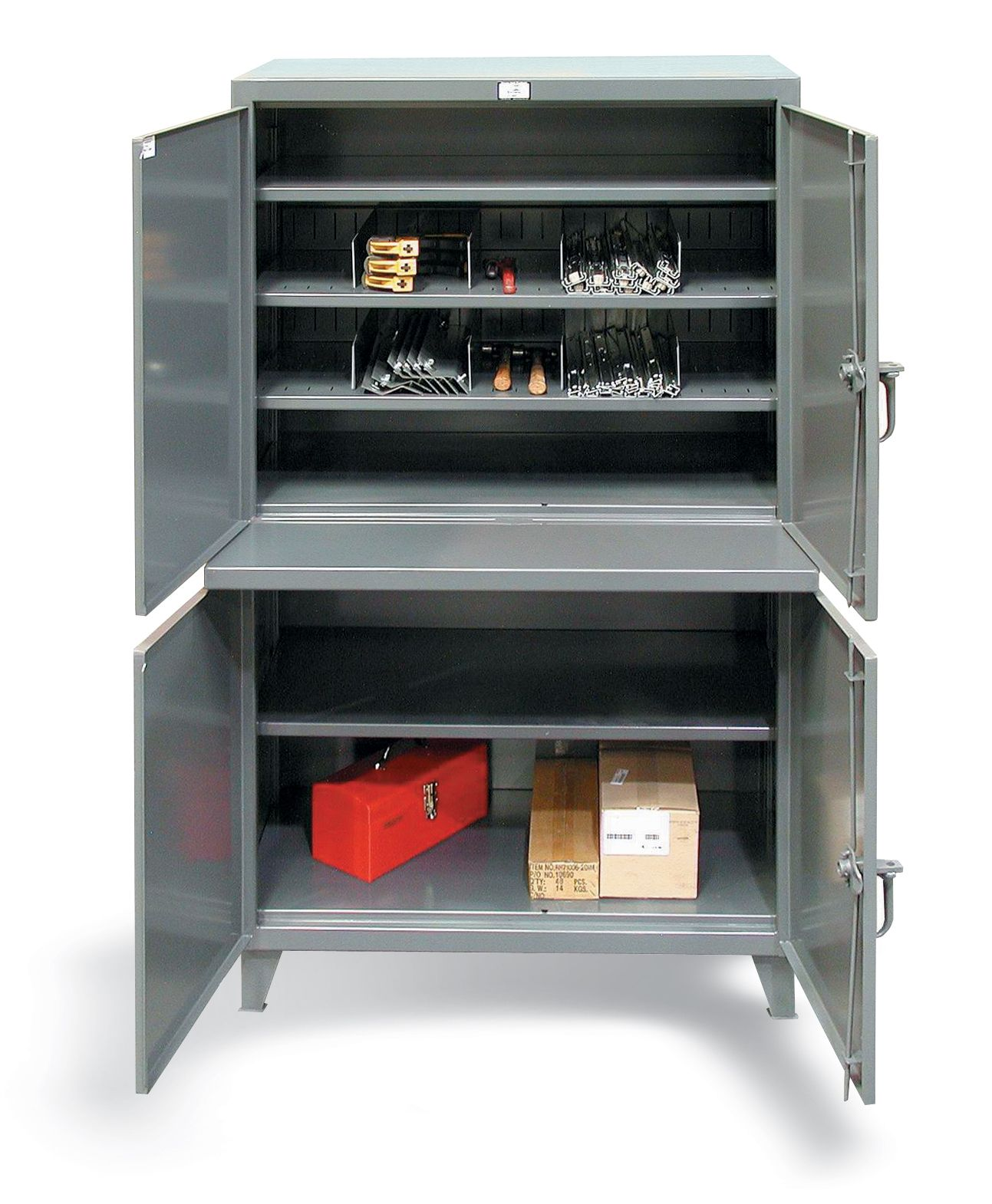 Tool Crib Cabinet - Cabinet with upper and lower compartments. Includes welded shelf and 14 ...