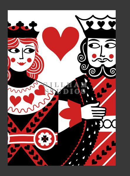King And Queen Of Hearts Playing Card Image Perhaps In Copper