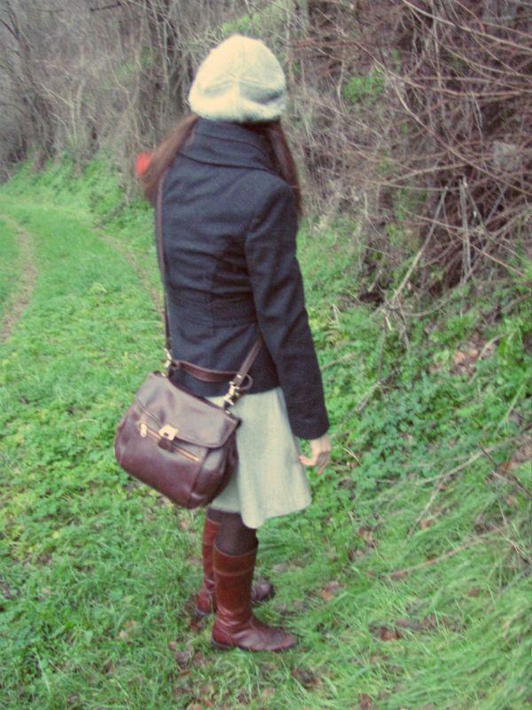 vintage skirt, boots, vintage bag, beret, #vintage