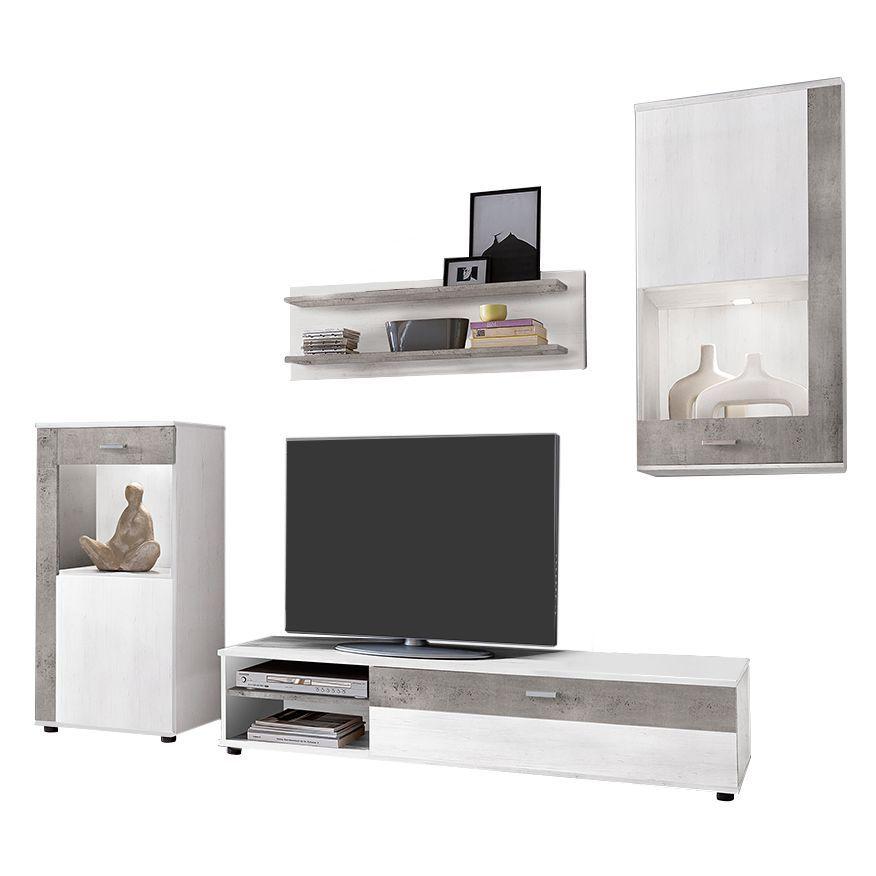 EEK A+, Wohnwand Horby (4-teilig) - inkl Beleuchtung - Pinie Weiß - wohnzimmer wohnwand weiß