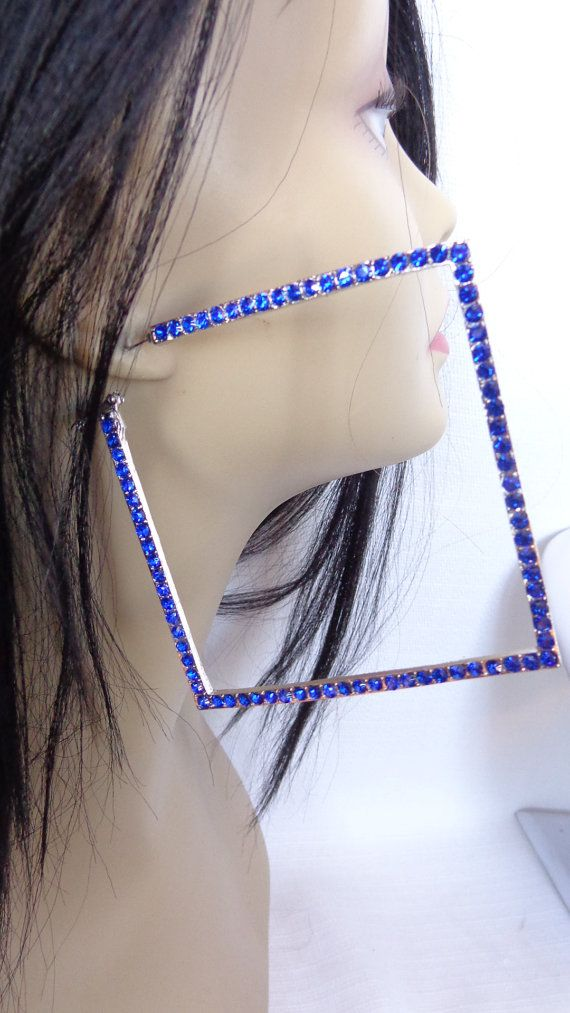 Large Square Hoop Earrings 4 Inch Blue Crystal Silver Rhodium Backing
