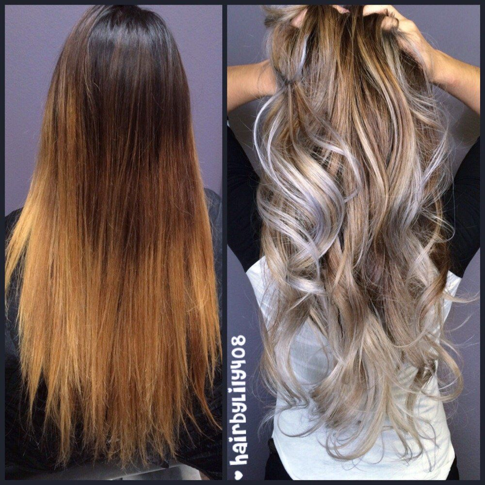 Brown To Silver Ombre Hair By Lily Ombr Balayage
