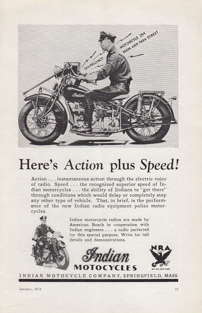 1934 Indian Motorcycle Springfield Ma Ad Motorcycle Police Action Plus Speed Magazinea Indian Motorcycle Vintage Motorcycle Photos Vintage Indian Motorcycles