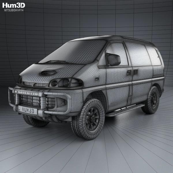 Mitsubishi Delica 4x4 Camper Elevating: Mitsubishi Delica Space Gear 4WD 1994 3d Model