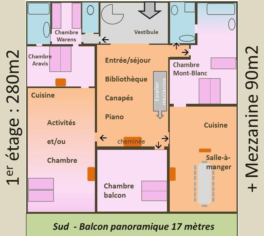 Location vacances gîte Sallanches Plan de lu0027appartement Entrée par