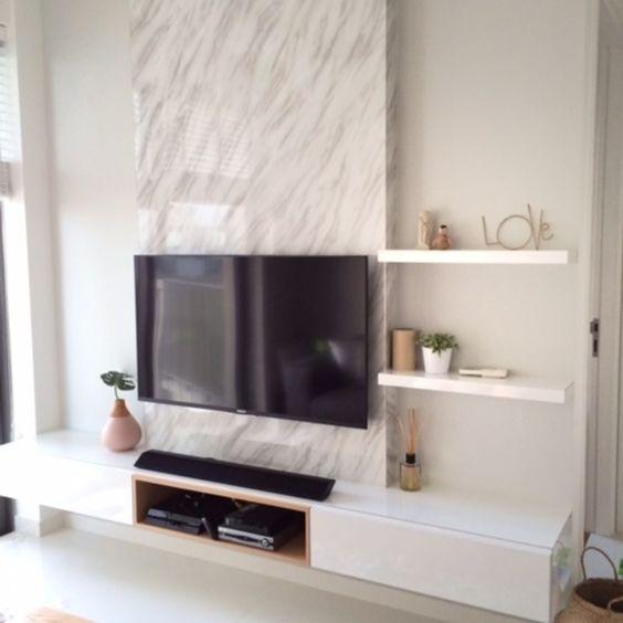 Modern Tv Unit Marble Texture Backwall