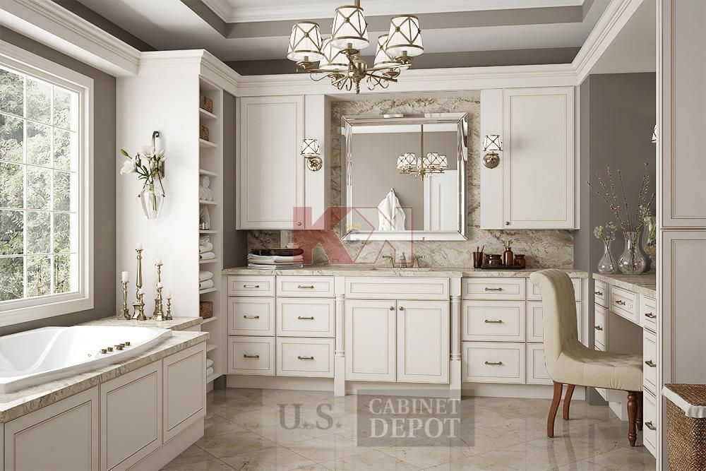 York Antique White Cabinets by Kitchen Cabinet Kings | Bathrooms ...