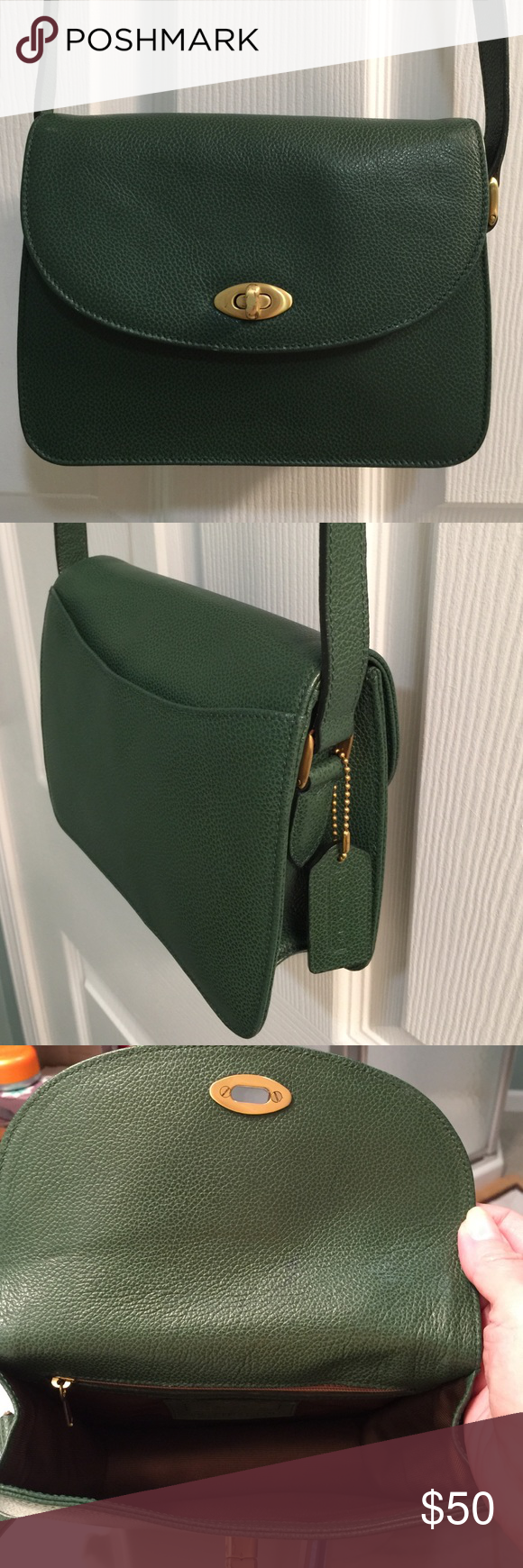 1aea0d3131f3 Vintage Coach made in Italy Vintage Coach Crossbody bag in green pebbled  leather. This is a special bag made in Italy! It s in great condition with  a slip ...
