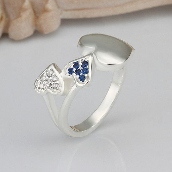 2016 New Top Quality Silver Plated & Stamped 925 smooth double heart link with blue stone ring for women wedding Fashion jewerly