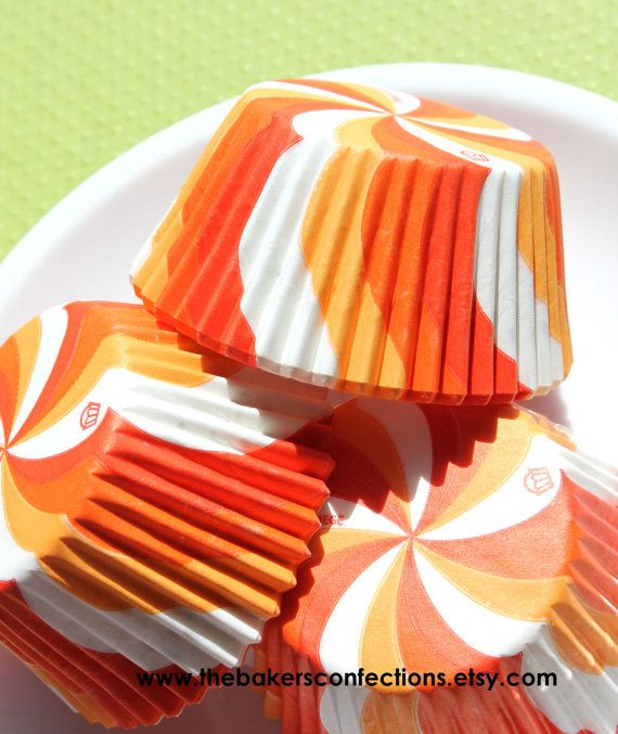 Orange Lollipop Swirl Cupcake Liners by thebakersconfections, $3.75