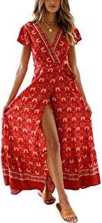 63d0ca6dc674ba ECOWISH Damen Kleider Boho Sommerkleid V-Ausschnitt Maxikleid Kurzarm Strandkleid  Lang mit Schlitz #kleider