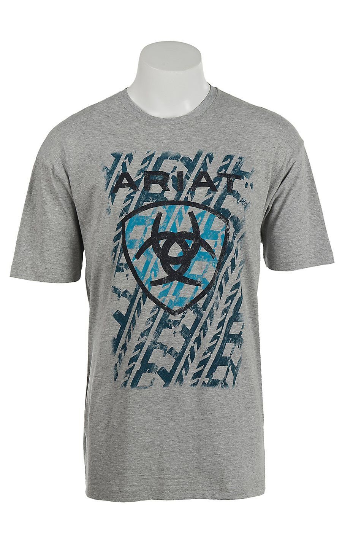 Ariat Men's Grey with Teal, black and Blue Screenprint Design T-Shirt    Cavender's