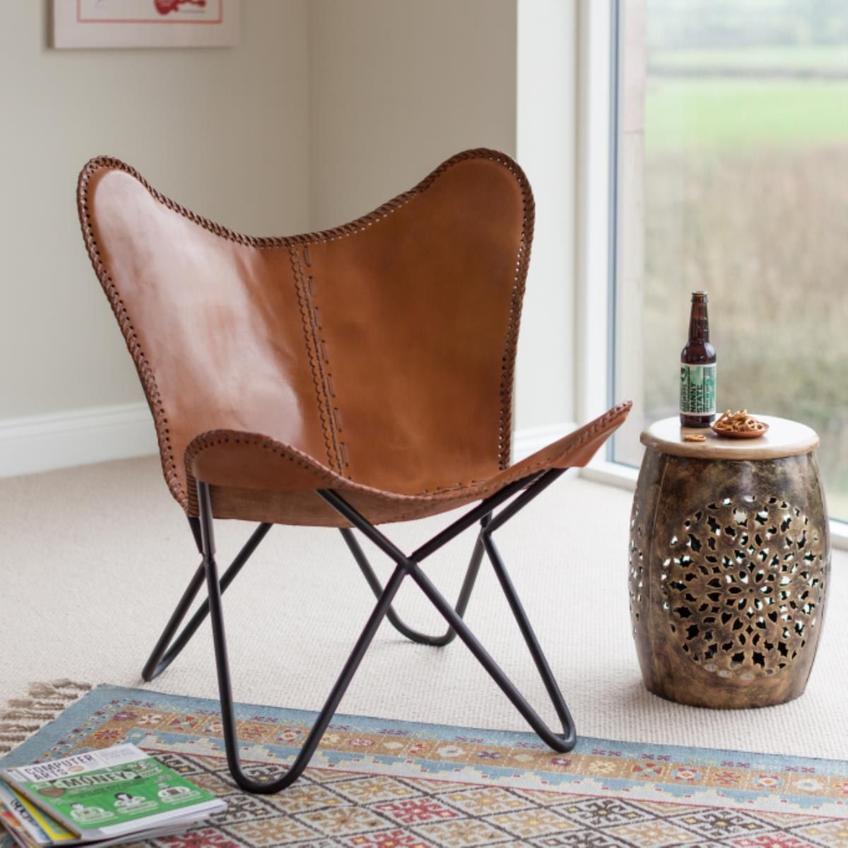 Butterfly Chair Buffalo Leather Butterfly Chair