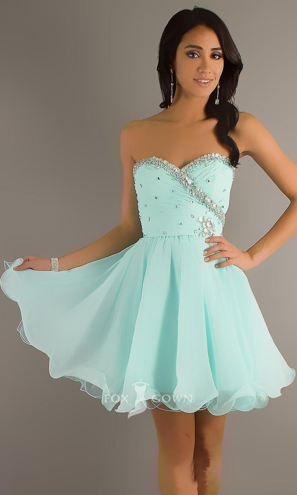 baby blue beaded sweetheart strapless a-line short chiffon ...