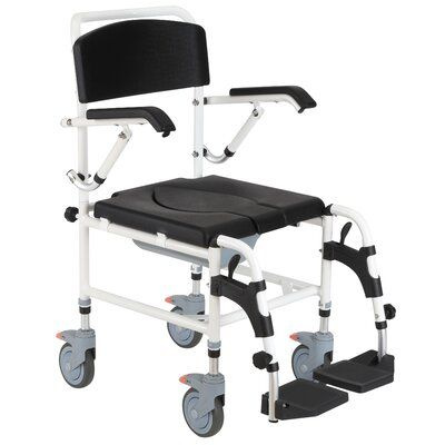 Homcom Accessibility Commode Wheelchair With 4 Castor Wheels