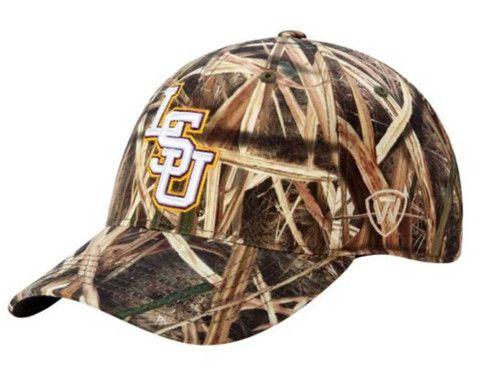 LSU Tigers Top of the World Camo Blade Memory Foam Flexfit Hat Cap (M L) f5f43ec94