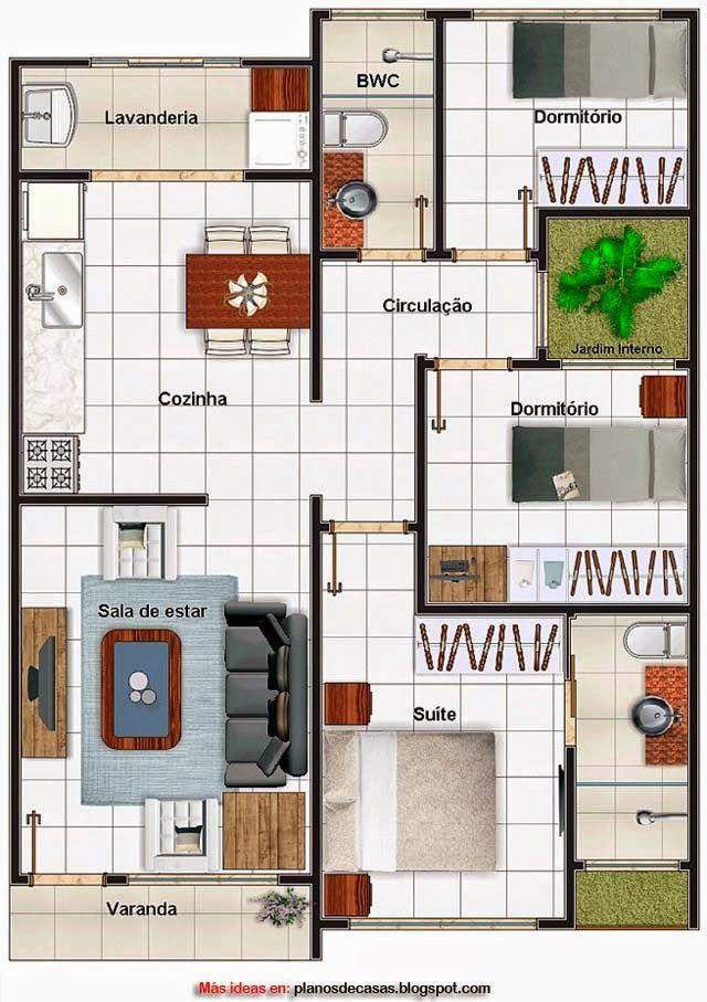 Plano de casa moderna de 69 m2 ideas para casas for Casa moderna de 50 m2