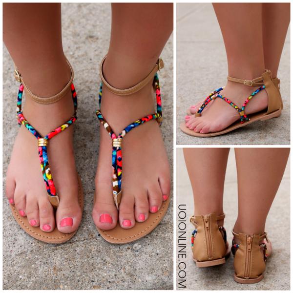 Neon Watercolor Strappy Sandal