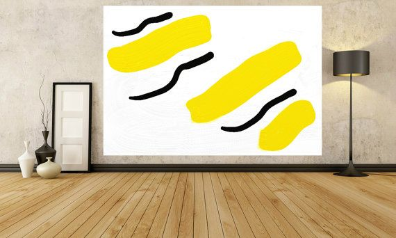 Yellow Painting Large Painting Black White Wall Art Painting Sizes ...