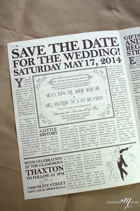 The Daily Proposal - Vintage Newspaper Invitation, SaveDate - program proposal