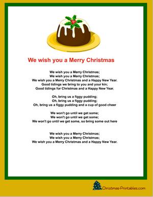 We Wish You A Merry Christmas Carol Printable Christmas Carols Lyrics Christmas Carols For Kids Christmas Songs Lyrics