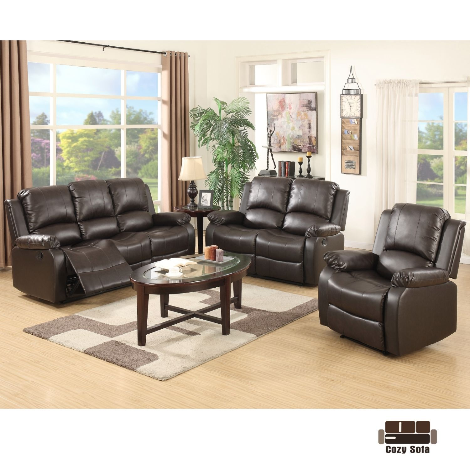 set sofa loveseat chaise couch recliner leather living room
