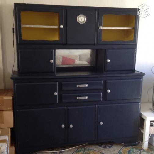 buffet de cuisine 1950 mado bleu nuit ameublement loire. Black Bedroom Furniture Sets. Home Design Ideas