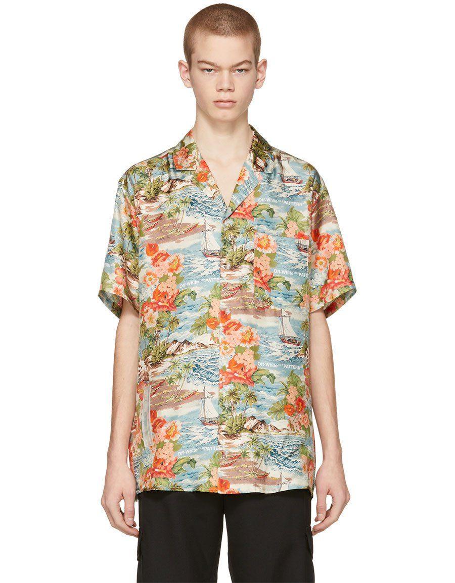 63af6c7448c7e7 b>OFF-WHITE</b><br> Multicolor Silk Hawaiian Shirt in 2019   Men ...