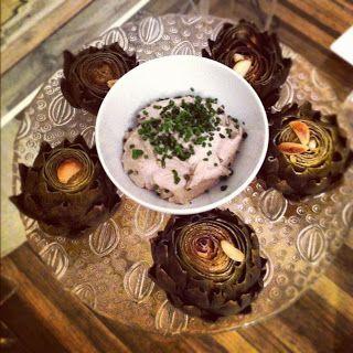 Steamed Artichokes with Creamy Walnut Dip
