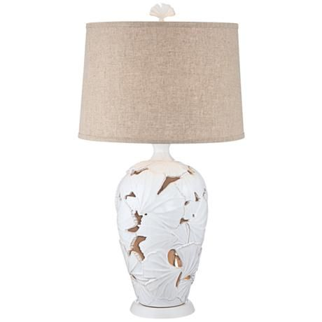 Ginkgo Leaf White Nightlight Ceramic Table Lamp   #8K809 | Lamps Plus