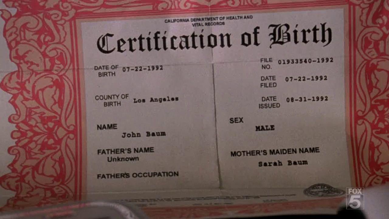 birth certificate fake john gnothi tscc season