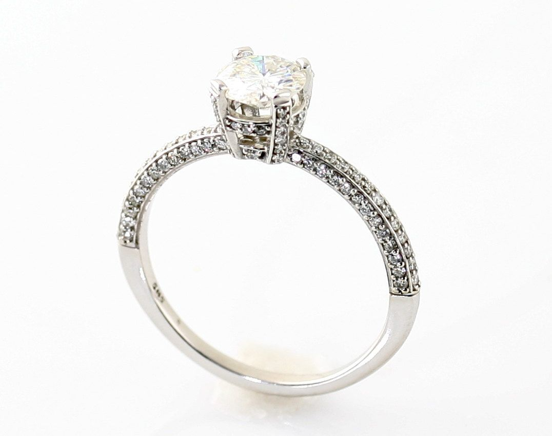 Pave diamond solitaire ring wedding pinterest moissanite gold