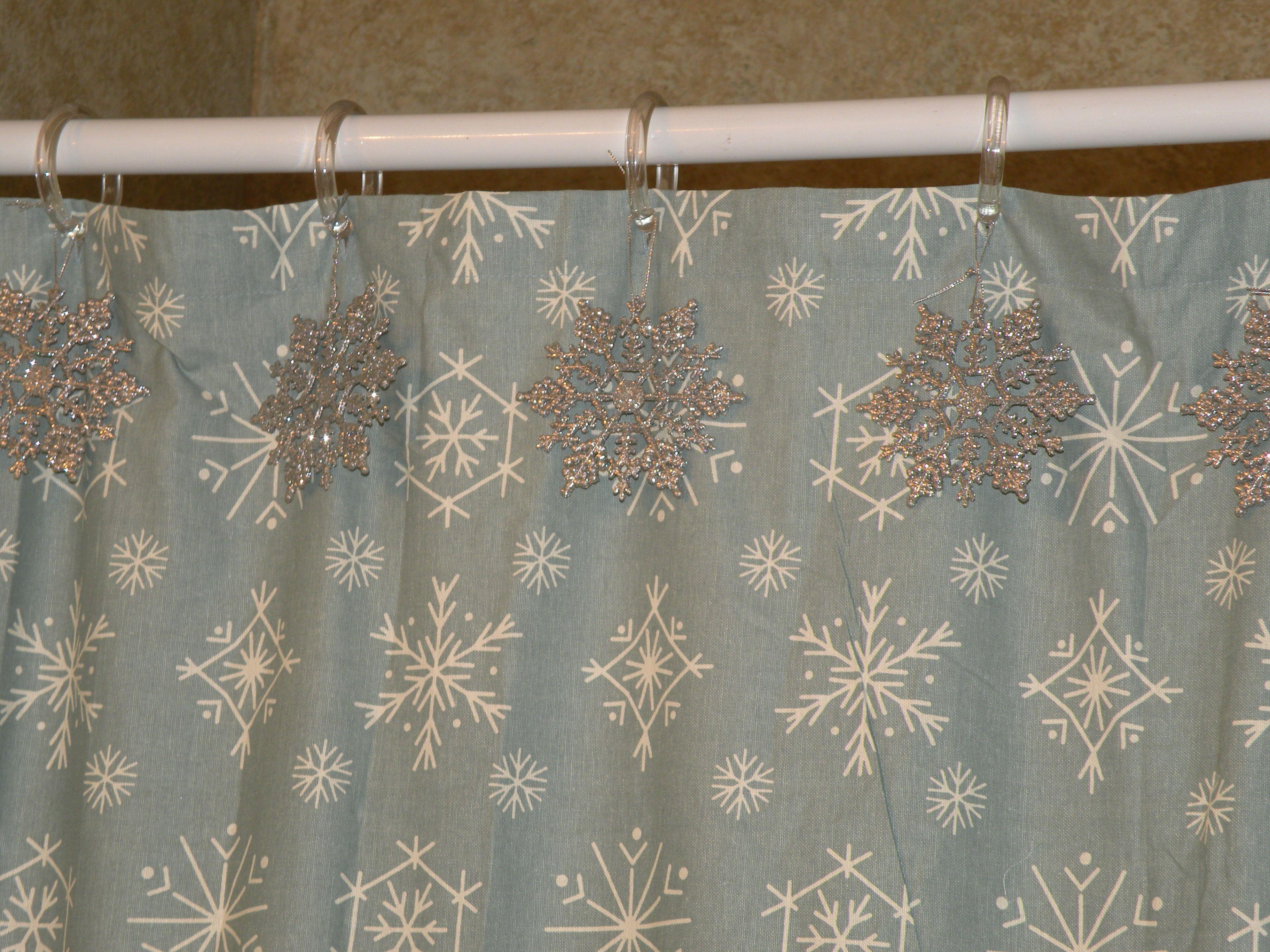 Hang Snowflake Ornaments On Shower Curtain Christmas Bathroom